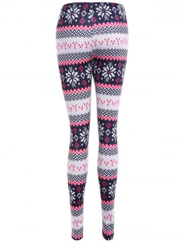Unique Tight Snowflake Print Christmas Leggings - M RED Mobile