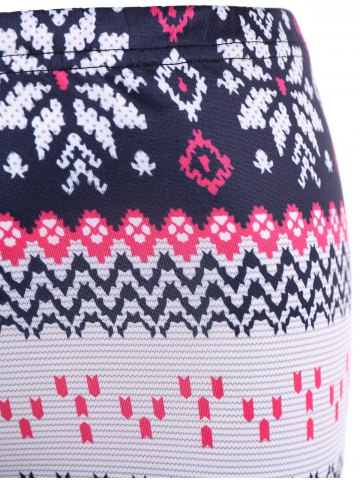 Discount Tight Snowflake Print Christmas Leggings - M RED Mobile