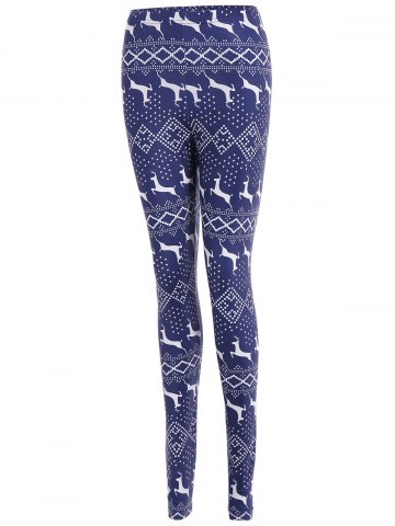 Outfits Tight Elk Print Christmas Leggings - XL DEEP BLUE Mobile