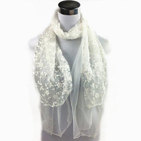 Fashion Outdoor Wintersweet Embroidery Lace Scarf
