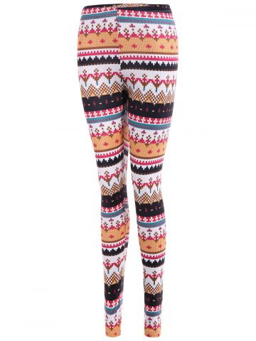 Chic Tight Christmas Print Leggings - M COLORMIX Mobile