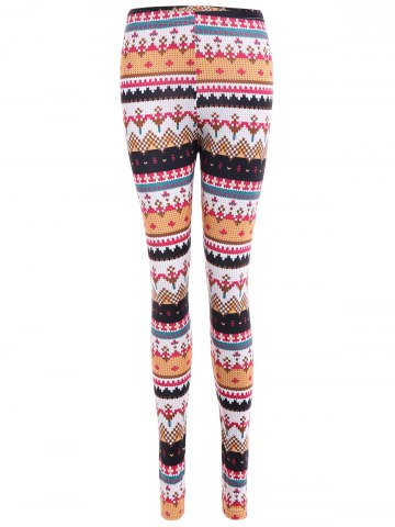 Chic Tight Christmas Print Leggings - S COLORMIX Mobile