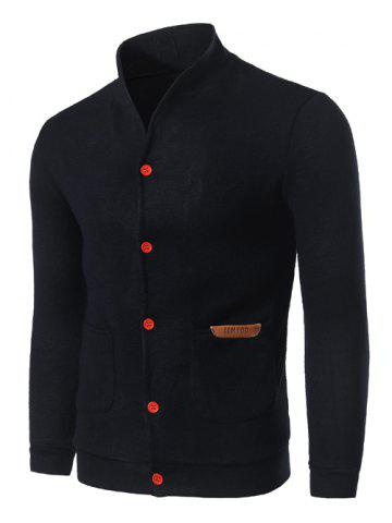 Buy Stand Collar Pocket Front Button Up Plain Cardigan - CADETBLUE M Mobile