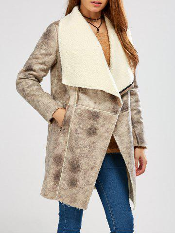Outfit Fleece Lining Suede Look Shawl Coat GRAY S