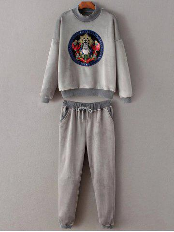 Latest Embroidered Sweatshirt and Drawstring Gym Pants Jogging Suit - M GRAY Mobile