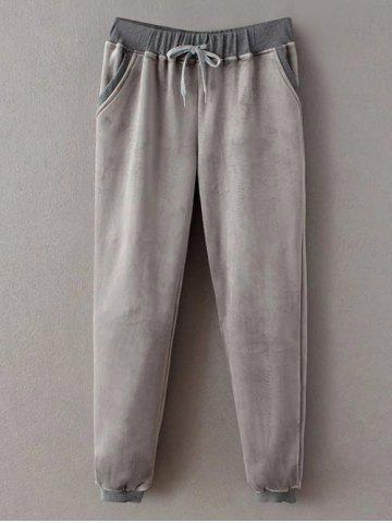 Fancy Embroidered Sweatshirt and Drawstring Gym Pants Jogging Suit - M GRAY Mobile