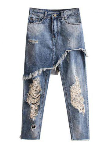 Hot Ripped Bleach Wash Asymmetric Jeans - M LIGHT BLUE Mobile