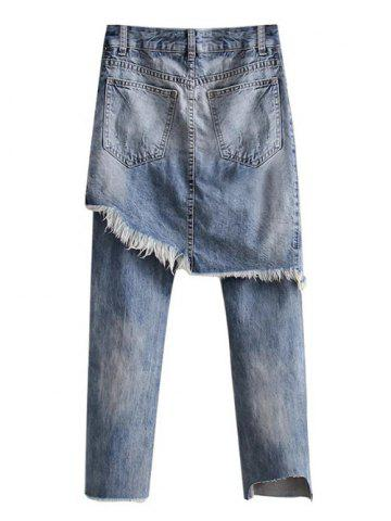 Best Ripped Bleach Wash Asymmetric Jeans - M LIGHT BLUE Mobile