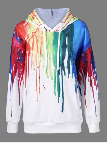 Buy Paint Drip Drawstring Hoodie - White XL