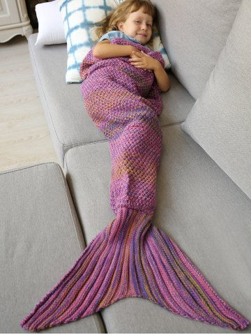 Winter Thicken Lengthen Color Block Sleeping Bag Wrap Kids Mermaid Blanket - Pink - Euro King