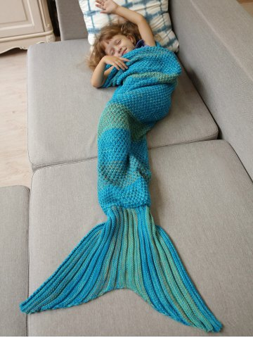 Winter Thicken Lengthen Color Block Sleeping Bag Wrap Kids Mermaid Blanket - Blue