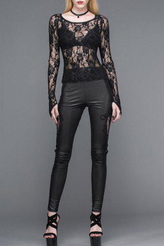 Lace Insert Faux Leather Leggings