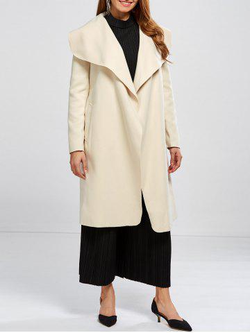 Shawl Collar Wool Blend Belted Wrap Coat - Off-white - M