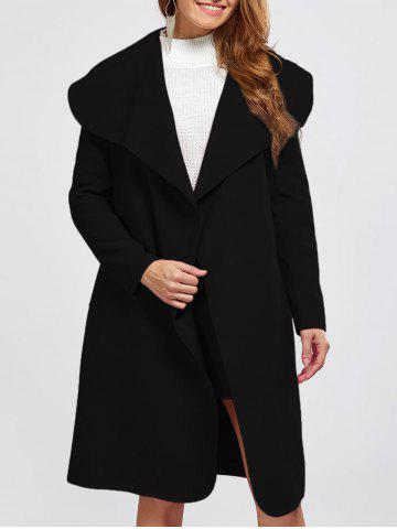 Sale Shawl Collar Wool Blend Belted Wrap Coat BLACK M