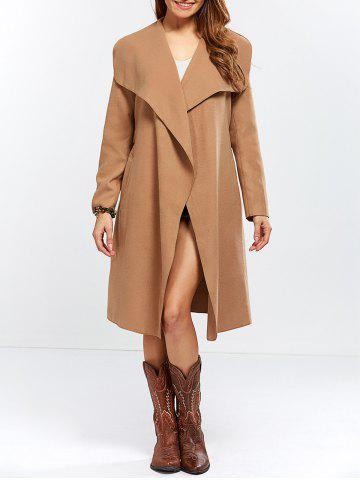 Shawl Collar Wool Blend Belted Wrap Coat - Camel - L