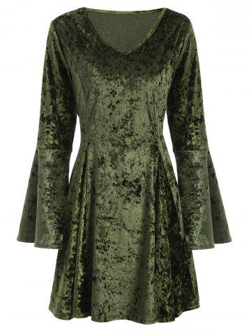 Outfits V Neck Bell Sleeve Velvet Skater Dress GREEN XL