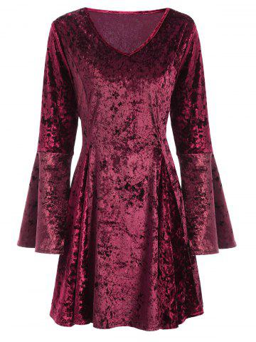 Outfit V Neck Bell Sleeve Velvet Fit and Flare Dress BURGUNDY XL