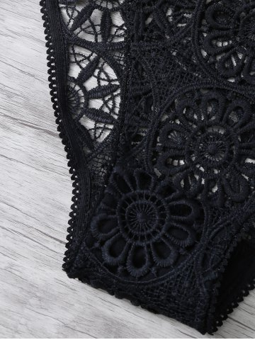 New Unlined Crocheted Bra No Padding and Panty - M BLACK Mobile