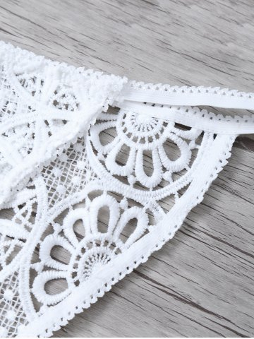 Fashion Unlined Crocheted Bra No Padding and Panty - L WHITE Mobile