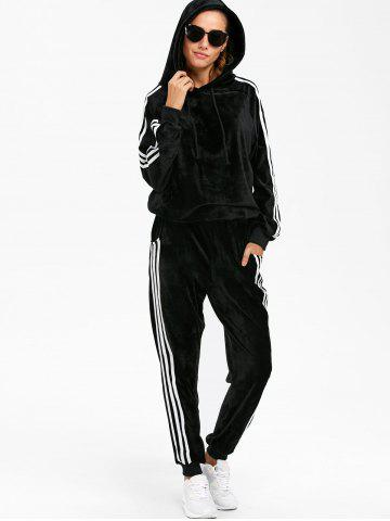 Store Sporty Velvet Hoodie and Running Jogger Sweatpants - L BLACK Mobile