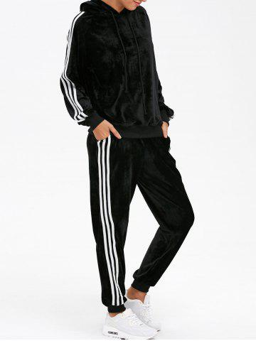 Outfits Sporty Velvet Hoodie and Running Jogger Sweatpants - L BLACK Mobile