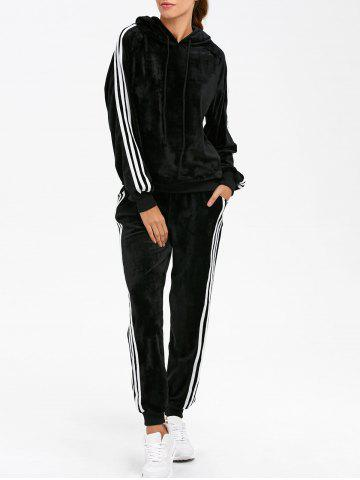 Latest Sporty Velvet Hoodie and Running Jogger Sweatpants BLACK L