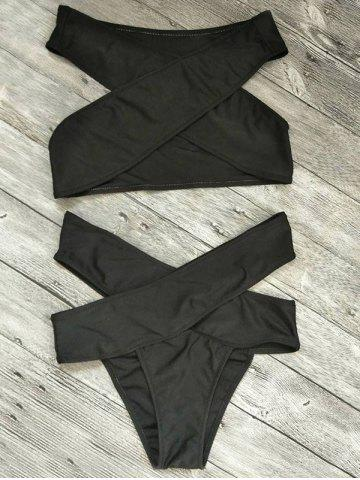 Bandage Criss Cross Cut Out Bikini Set - Black - S