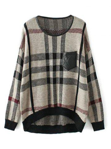 Discount Patched High Low Plaid Sweater