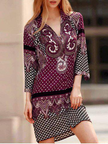 Cheap Vintage V-Neck Three Quarter Sleeve Floral Print Women's Straight Dress