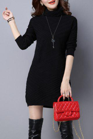 High Neck Long Sleeve Knitted Dress - Black - L