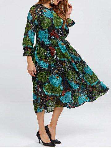 Long Sleeve Printed Smock Dress With Cami Top