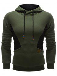 Color Splicing PU Leather Embellished Hoodie