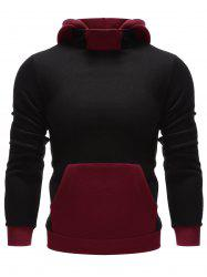 Color Insert Kangaroo Pocket Hoodie - BLACK