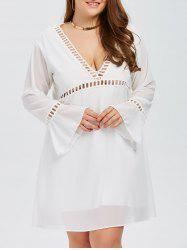 Plus Size Flare Sleeves Low Cut A LineSwing Dress -