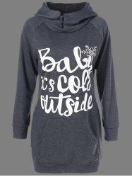 Christmas Long Funny Dark Grey Hoodie - GREY/WHITE XL