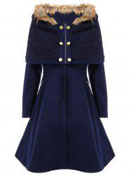 Stylish Hooded Long Sleeves Zippered Pocket Design Women's Coat - CADETBLUE