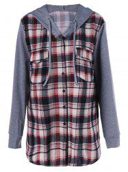 Plus Size Plaid Trim Flap Pockets Hoodie - CHECKED