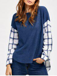 Plaid Trim Arc Shaped Hem Blouse