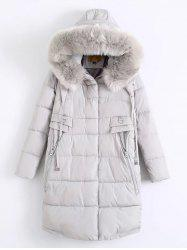 Fur Hooded Padded Coat - LIGHT GRAY