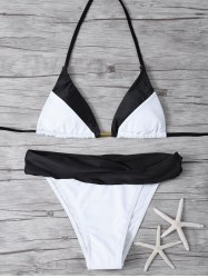 Spaghetti Straps High Cut Color Block Bikini Set