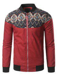 Zip Up Stand Collar Vintage Printed Jacket -