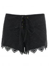 Suede Lace-Up Openwork Scalloped Shorts -