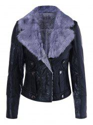 Faux Leather Collar Winter Biker Jacket with Fur Collar