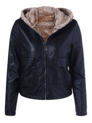 Hooded PU Leather Jacket -