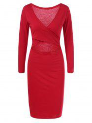 Plunge Criss Cross Long Sleeve Sheath Dress