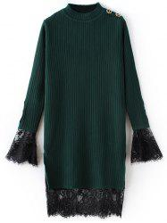 Lace côtelé Panel Sweater Dress -