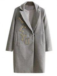 Letter Embroidered Wool Coat With Pocket - GRAY L
