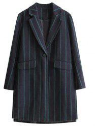 Vertical Stripe One Button Wool Coat -