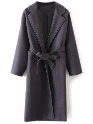 Long Wool Wrap Coat With Pocket