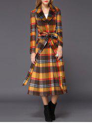 Wool Checked Long Skirted Coat -